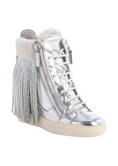 Giuseppe Zanotti silver metallic leather and white crystal studded tassel wedge heel sneakers