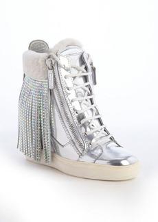 Giuseppe Zanotti silver metallic leather and white crystal studded tassel wedge heel sneakers