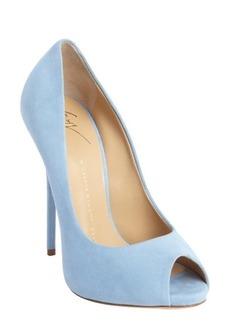 Giuseppe Zanotti sky blue peep toe pumps