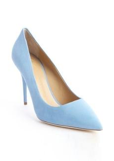 Giuseppe Zanotti sky blue suede pointed toe pumps