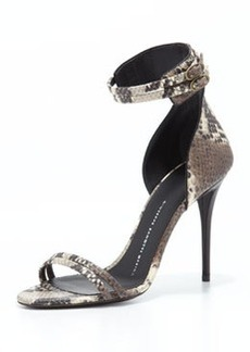 Giuseppe Zanotti Snake-Print Ankle Wrap Sandal, Gray