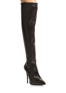 Giuseppe Zanotti Stretchy Leather Over-The-Knee Point Toe Boots