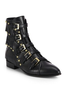 Giuseppe Zanotti Studded & Fringe-Trimmed Leather Buckle Ankle Boots