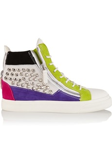 Giuseppe Zanotti Studded suede and leather wedge sneakers