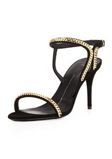 Giuseppe Zanotti Suede Chain Link Ankle-Wrap Sandal, Black