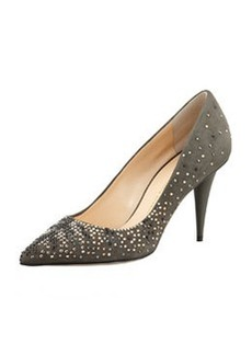 Giuseppe Zanotti Suede Crystal-Embellished Pump, Gray