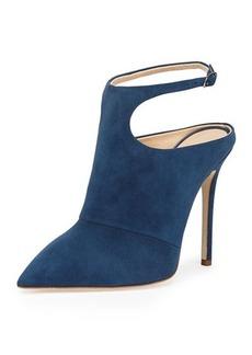 Giuseppe Zanotti Suede Point-Toe Ankle-Wrap Mule, Blue