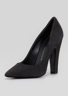 Giuseppe Zanotti Suede Pointed-Toe Thick-Heel Pump, Black