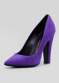 Giuseppe Zanotti Suede Pointed-Toe Thick-Heel Pump, Purple