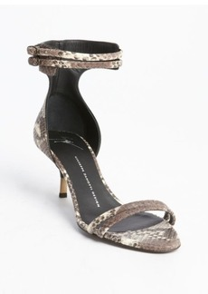 Giuseppe Zanotti taupe and ivory snake embossed ankle strap sandals