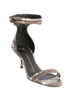 Giuseppe Zanotti taupe and ivory snake embossed anklestrap kitten heel sandals