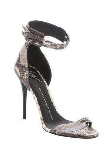Giuseppe Zanotti taupe python embossed leather 'Coline 10C' stiletto sandals