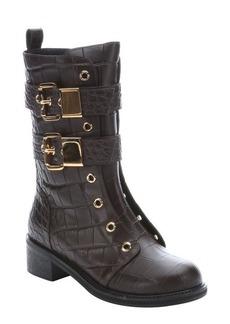 Giuseppe Zanotti tmoro croc embossed leather 'Moto' side-zip motorcycle boots