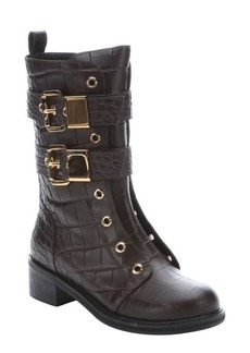 Giuseppe Zanotti tmoro croc embossed leather 'Moto' side-zip motorcycle boots