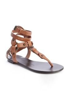 Giuseppe Zanotti tobacco leather segmented thong gladiatrix sandals