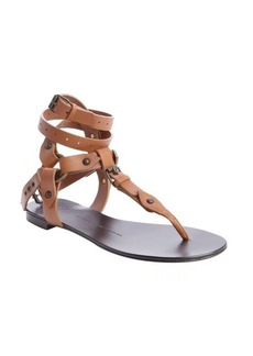 Giuseppe Zanotti tobacco leather segmented thong gladiatrix sandals