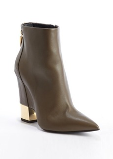Giuseppe Zanotti truffle leather goldtone heel zipper detail ankle boots
