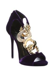 Giuseppe Zanotti violet velvet chain link stiletto sandals