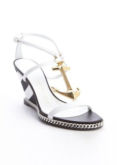 Giuseppe Zanotti white and black leather anchor buckle detail wedge sandals