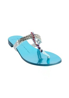 Giuseppe Zanotti white and blue leather chain and stud detail strappy sandals