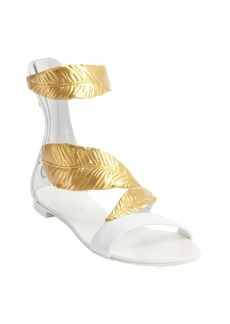 Giuseppe Zanotti white and gold leafy anklestrap flat sandals