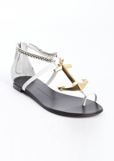 Giuseppe Zanotti white leather anchor and chain detail sandals