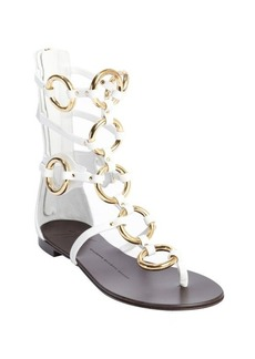 Giuseppe Zanotti white leather and gold chain detail strappy sandals