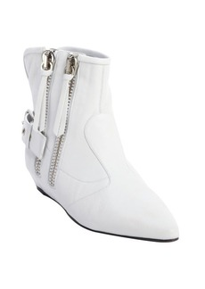 Giuseppe Zanotti white leather covered wedge side zipper 'Maude' ankle boots