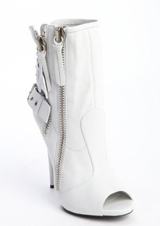 Giuseppe Zanotti white leather dual zip and buckle heel ankle boots