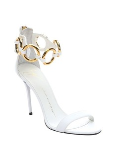 Giuseppe Zanotti white leather link detail ankle-band sandals