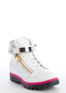 Giuseppe Zanotti white leather metal fastening tape strap zip up high top sneakers