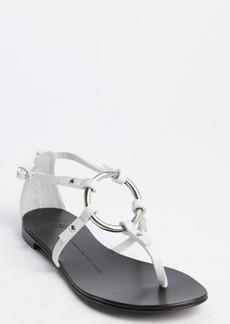 Giuseppe Zanotti white leather o-ring flat sandals