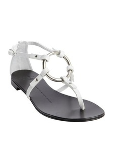 Giuseppe Zanotti white leather o-ring flat sandals