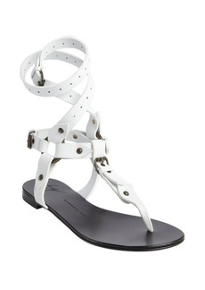 Giuseppe Zanotti white leather segmented thong gladiatrix sandals