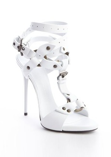 Giuseppe Zanotti white leather strappy buckle detail sandals