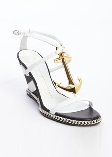 Giuseppe Zanotti white leather striped wedge anchor 'Coline' sandals