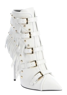 Giuseppe Zanotti white leather 'Yvette Jeti' fringe detail ankle ...