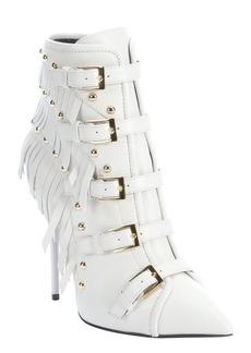 Giuseppe Zanotti white leather 'Yvette Jeti' fringe detail ankle booties