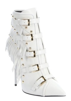 Giuseppe Zanotti white leather 'Yvette Jeti' fringe detail side-zip ankle booties
