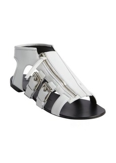 Giuseppe Zanotti white leather zip front strappy flat sandals