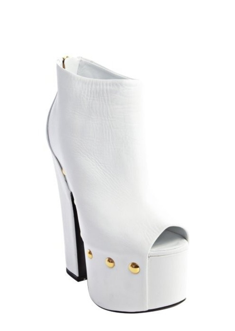 Giuseppe Zanotti white studded leather peep toe zip back platforms