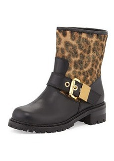 Leopard-Print Motorcycle Boot, Nero   Leopard-Print Motorcycle Boot, Nero