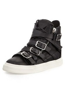 Multi-Buckle High-Top Sneaker, Nero   Multi-Buckle High-Top Sneaker, Nero