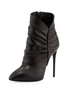 Pleated Peak Leather Bootie, Nero   Pleated Peak Leather Bootie, Nero