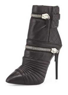 Quilted Leather Double-Zip Boot, Nero   Quilted Leather Double-Zip Boot, Nero