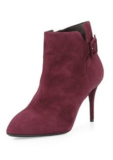 Side-Buckle Suede Ankle Boot, Ametista   Side-Buckle Suede Ankle Boot, Ametista