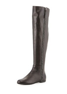 Side-Zip Napa Leather Knee Boot, Black   Side-Zip Napa Leather Knee Boot, Black