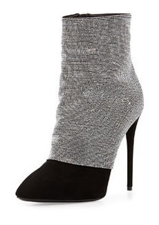 Strass and Suede Ankle Boot   Strass and Suede Ankle Boot