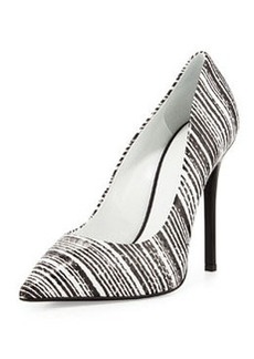 Striped Snake-Embossed Point-Toe Pump, Black/White   Striped Snake-Embossed Point-Toe Pump, Black/White