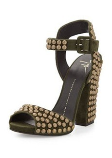 Studded Ankle-Wrap Chunky-Heel Sandal, Militare   Studded Ankle-Wrap Chunky-Heel Sandal, Militare